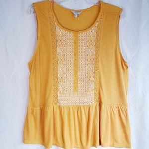 NWT Lucky Brand Embroidered Thick Strap Tank Top